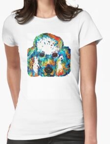 Colorful Poodle Dog Art by Sharon Cummings Womens Fitted T-Shirt