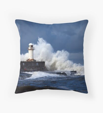 South Gare (Stormy) Throw Pillow