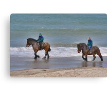 Straô horses in the North Sea Canvas Print