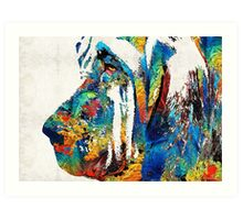 Colorful Bloodhound Dog Art By Sharon Cummings Art Print