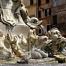 fountain in the piazza in front of the Pantheon, Rome by BronReid