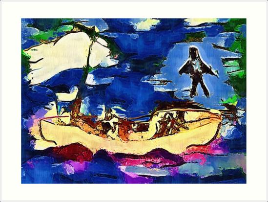 Jesus walks on water. by Albert