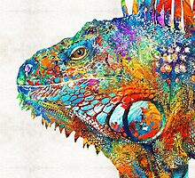 Colorful Iguana Art - One Cool Dude - Sharon Cummings by Sharon Cummings