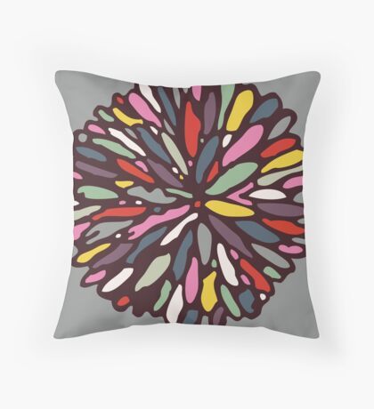 Retro Dahlia Throw Pillow