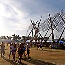 Bamboo Waves and Coachella Concert-Goers by Cody McKibben