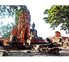 Large Buddha Image at Wat Phra Mahathat Photographic Print