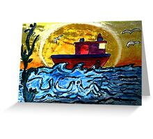 Sunset Tugboat Greeting Card