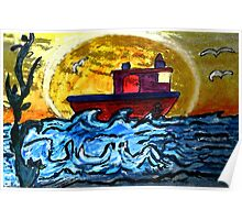 Sunset Tugboat Poster