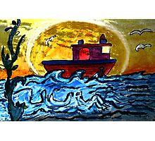 Sunset Tugboat Photographic Print