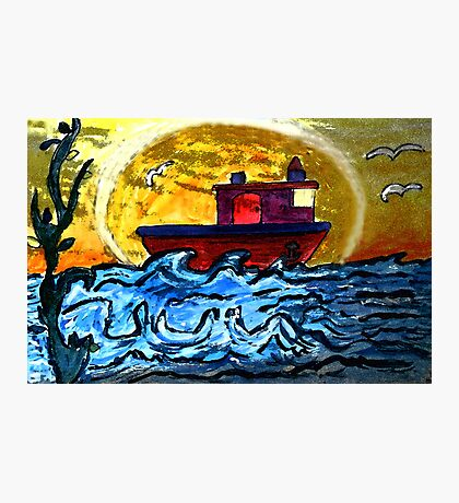 Sunset Tugboat Photographic Print