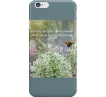 Allium flowers with butterfly and Bible verse of Jude 2 iPhone Case/Skin