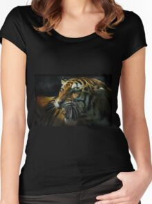Snarling Tiger  Women's Fitted Scoop T-Shirt