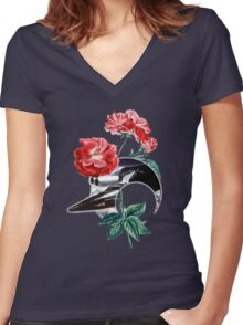 Heaven Lone Heart. Women's Fitted V-Neck T-Shirt