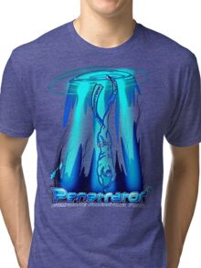 Freediving with Penetrator fins Tri-blend T-Shirt