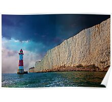 Beachy Head Lighthouse and Cliffs from the Sea Poster