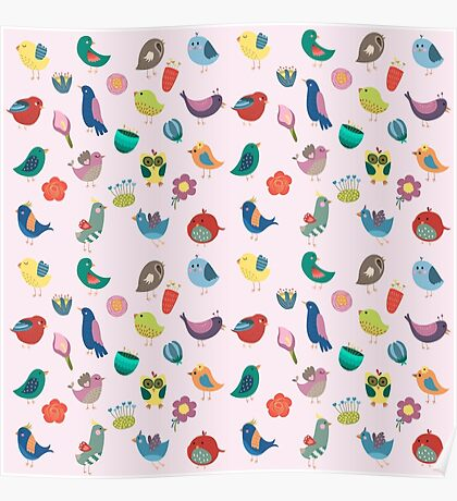Vintage Birds and Flowers Poster