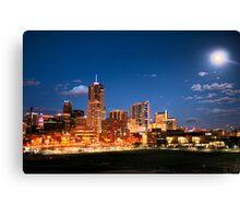 Downtown Denver Skyline Full Moon Rising Canvas Print