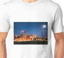 Downtown Denver Skyline Full Moon Rising Unisex T-Shirt
