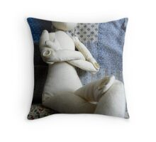 doll with no hair Throw Pillow