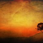 Sunset Textured Tree Landscape by Clare Colins