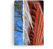 Icicles On A Red Barn Canvas Print