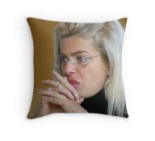 Pretty Blond Museum Visitor Throw Pillow