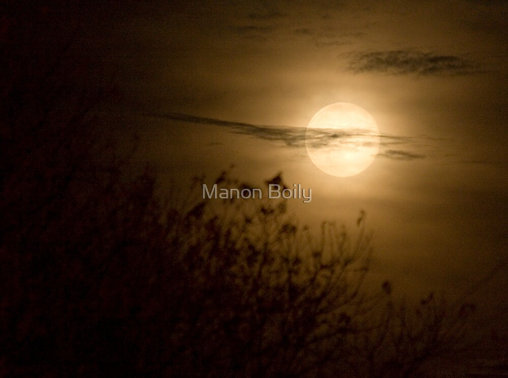 full moon at night and clouds by Manon Boily