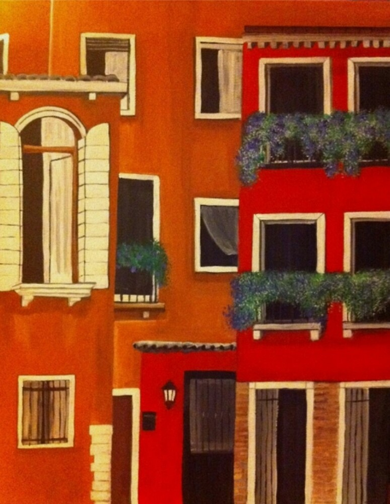Orange and red rustic buildings Acrylic painting  by Melissa Goza