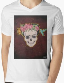 Frida Kahlo Skull Mens V-Neck T-Shirt