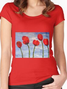 """""""Tulips are red, my love!""""  Women's Fitted Scoop T-Shirt"""