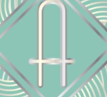 1920s Blue Deco Swing with Monogram letter A Sticker