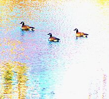 Sunny Abstract Geese by Gilda Axelrod