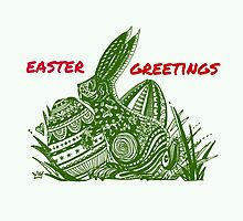Easter Bunny Easter Greetings by Heatherian
