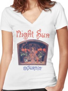 Night Sun Mournin' Shirt! Women's Fitted V-Neck T-Shirt
