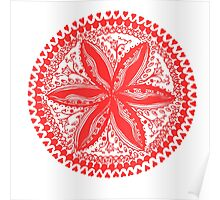 Hearts and Flowers 1 in Red - An Aussie Tangle see description notes for background colour options Poster