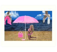 SOME BEACH...SOMEWHERE...ATTENTIVE SEAGULLS..PICTURE AND OR CARD Art Print