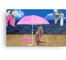 SOME BEACH...SOMEWHERE...ATTENTIVE SEAGULLS..PICTURE AND OR CARD Canvas Print