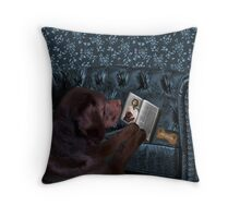 ASK THE ANIMALS AND THEY WILL TEACH U...CANINE READING BIBLE..WITH SCRIPTURE BISCUIT PICTURE,CARD,PILLOW,TOTE BAG ECT..HOW PRECIOUS.. Throw Pillow