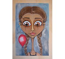 Birthday Girl with Red Balloon Photographic Print