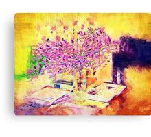 A flower arrangement on living room table. Canvas Print