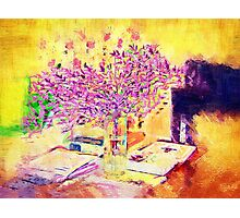 A flower arrangement on living room table. Photographic Print