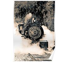 Flagg Coal Steam Engine Blow Out - Duotone Poster