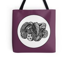 Cherries - Black and White Aussie Tangle - clear Background (see description) Tote Bag