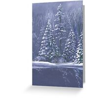 Winter trees Christmas seasonal fine art painting Greeting Card