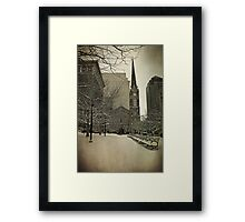 Winter at The Old Stone Church  Framed Print