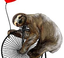 Sloth on Penny Farthing Velocipede with Heart Balloon by SirLeeTees