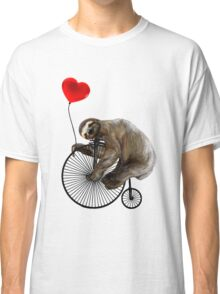 Sloth on Penny Farthing Velocipede with Heart Balloon Classic T-Shirt