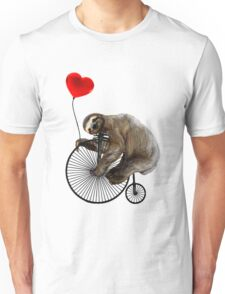 Sloth on Penny Farthing Velocipede with Heart Balloon Unisex T-Shirt
