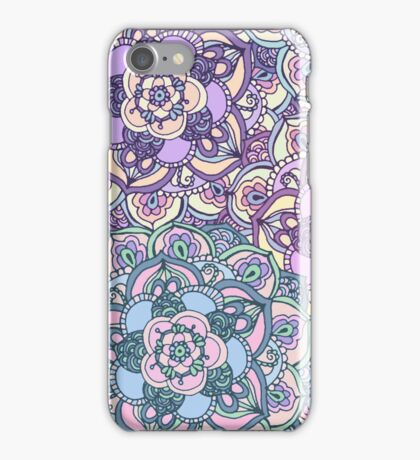 Aqua, Pink and Purple Doodled Pattern iPhone Case/Skin