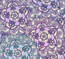 Aqua, Pink and Purple Doodled Pattern by Tangerine-Tane